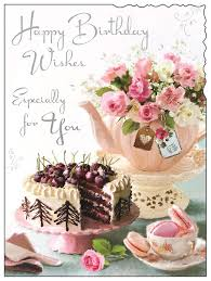 Greeting Card Jj4436 Female Birthday Pink Teapot And Cake Foil