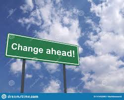 Quote For Change Green Traffic Street Sign With A Quote Change Ahead Stock