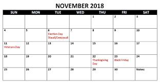 November Through November Calendars Best 25 November 2018 Calendar With Holidays Printable Free Download