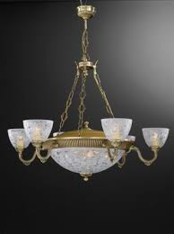 10 light brass chandelier with frosted glasses facing upward