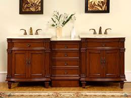 80 bathroom lavatory double sink vanity cherry finish cabinet marble top 205cm
