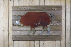 rustic pig on woodback on wooden pig wall art with pig on wood back rustic metal letters wall art