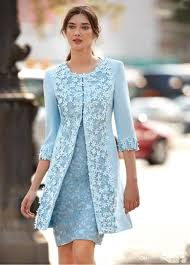 Light Blue Dresses For Mother Of The Bride Us 119 93 33 Off Carla Ruiz 2018 Light Blue Mother Of The Bride Dresses With Jacket Sheath Knee Length Short Wedding Guest Dress Arabic 3d Flower In