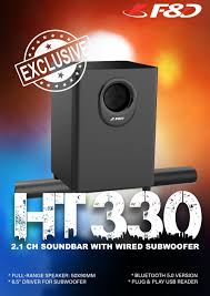 F&D - And all you need to do is sit back and relax... Our newly launched  #HT330 2.1 CH soundbar with wired subwoofer are engineered to deliver a  cinematic experience that complements