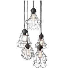 wire five pendant lamp with edison bulbs by pottery barn design by free to worldwide