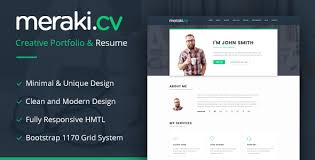 Resume Html Template Delectable Meraki One Page Resume HTML Template By Multidots ThemeForest