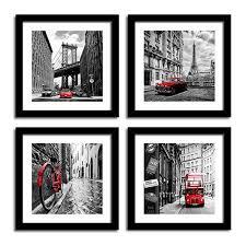 sunfrower art city wall art black white cityscape canvas print wall art paris eiffel tower london double decker buss classic red car home office decor