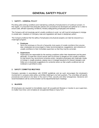 disciplinary policy template. General Safety Policy Template Sample Form Biztreecom