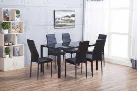 roma rectangle black glass dining table and 6 black montero chairs set