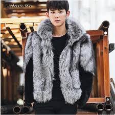 2018 winter fur jacket plus size warm long sleeve outwear mens hooded fox fur coat overcoat 4xl 3xl plus size faux fur coats malaysia