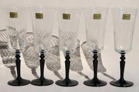 black champagne flutes onyx stem french crystal w original labels friday glasses plastic and gold