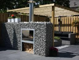stone gabion fire place