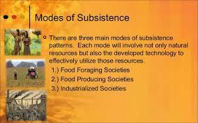 Subsistence Patterns