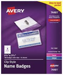 Avery 74461 Clip Style Name Badges With Clips 2 1 4 X 3 1 2 Inches Pack Of 100