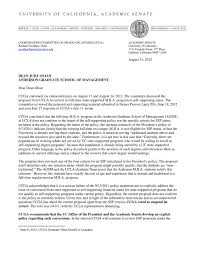 Letter Rejecting Self Sufficiency Proposal By Ucla Anderson School