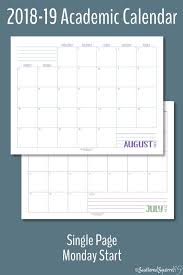 Monthly Academic Calendar Introducing The 2018 2019 Academic Calendars Diy And