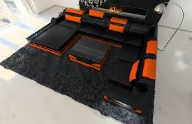 Details Zu Ledersofa Mega Wohnlandschaft Mezzo Xxl Designer Couch Ottomane Led Beleuchtung