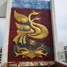 fiber wall mural sculpture for