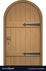 old wooden arch door vector image