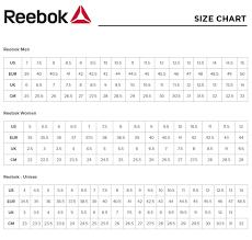 Reebok Size Chart
