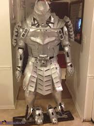 front view on mannequin the silver samurai costume