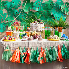 Candy Bar On Childrens Birthday Cake With Dinosaur And Sweets