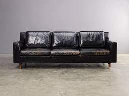 edward wormley black leather sofa for