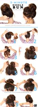 how to quick easy fan bun hairstyle for um long hair tutorial