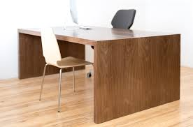 home office desks modern. Opulent Hardwood Brown Varnished Double Desk With Single Modern Armless Chair On Fake Wood Floors As Contemporary Home Office Decoration Ideas Desks E