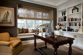 elegant home office room decor. Elegant Home Office With Large Glass Window And Cozy Seating Also Built In Shelves Room Decor U