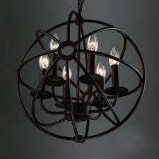 6 light led orb chandelier in wrought iron industrial style restaurant kitchen globe pendant light in