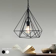 cage pendant lighting geometric diamond wire light hanging lamp shade