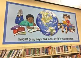 library mural kids reading books mural mural on the wall inc