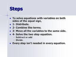 4 steps to solve equations with variables on both sides