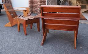 hand made modern adirondack chair and table by hudson woodworking and restoration custommade com
