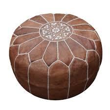 moroccan pouffe ottoman  footstool pouf genuine tan leather