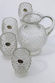 tiara hobnail pattern glass lemonade set crystal clear pitcher glasses