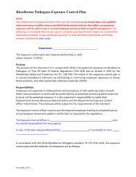 OSHA Sample Bloodborne Pathogens Exposure Control Plan