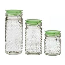 emma jade hobnail 3 piece glass hermetic canister set with jadeite lids