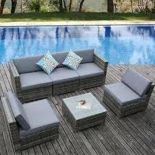 set sofa wicker sectional garden patio
