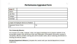 Sample Employee Performance Appraisal Sample Employee Performance Appraisal Forms 8 Free Documents In