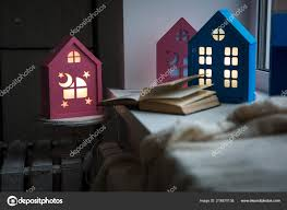 Night Light For Children S Bedroom Interior Children Room Cozy Night Lights Form Houses Window