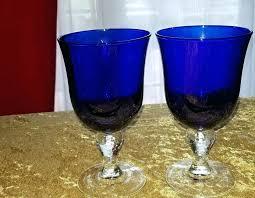 details about 2 cobalt blue large wine water glasses goblets le bulbous libbey ribbon