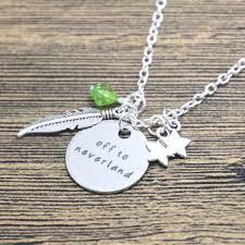 details about peter pan off to neverland charms necklace silver in gift bag box tinkerbell