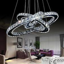 3 ring cool white crystal chandelier