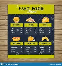 Restaurant Menu Template Fast Food Restaurant Menu Template Stock Vector