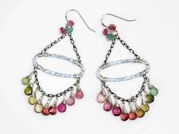 the gypsy earrings watermelon tourmaline chandelier earrings boho style gemstone dangle earrings in silver