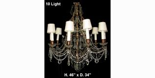 ch09 antique ventien cut crystal and beaded 10 light brass chandelier