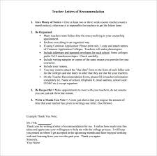 teacher letter of recommendation thank you letter for recommendation 9 free sample example format