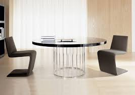 image of contemporary round glass dining table